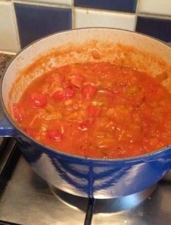 Tomato soup, pre blending