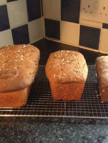 """Real bread, every day. I have allowed the larger loaf to rise too long, hence its """"muffin top"""". Tipsy Lemon Drizzle Cake on the right."""