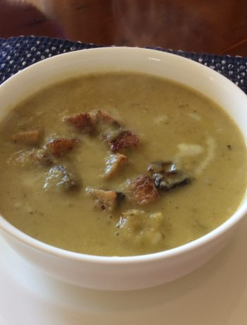 Celery Soup with garlic croutons