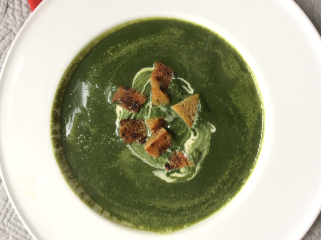 Spinach, watercress & wild garlic soup