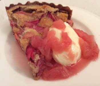 Rhubarb and Almond tart with Rhubarb and Gin Sauce